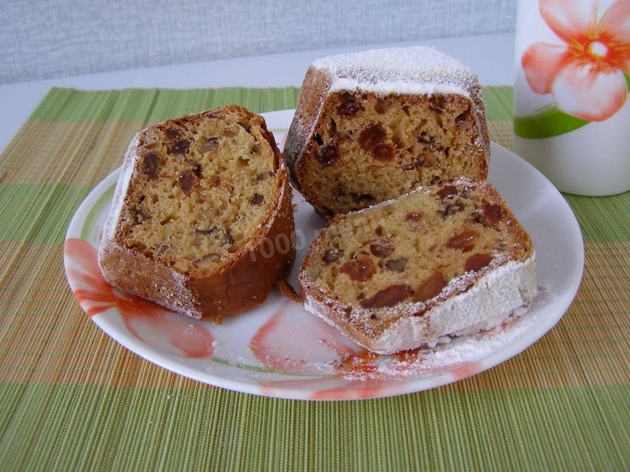 Медовый кекс с орехами и изюмом