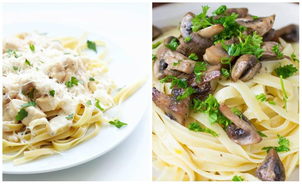 Фетучини с курицей, грибами и сливочным соусом