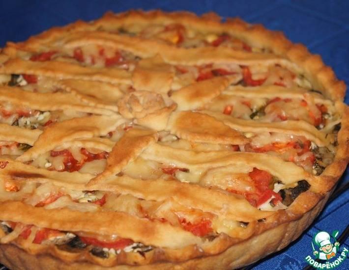 Сдобный пирог с картофелем и шампиньонами