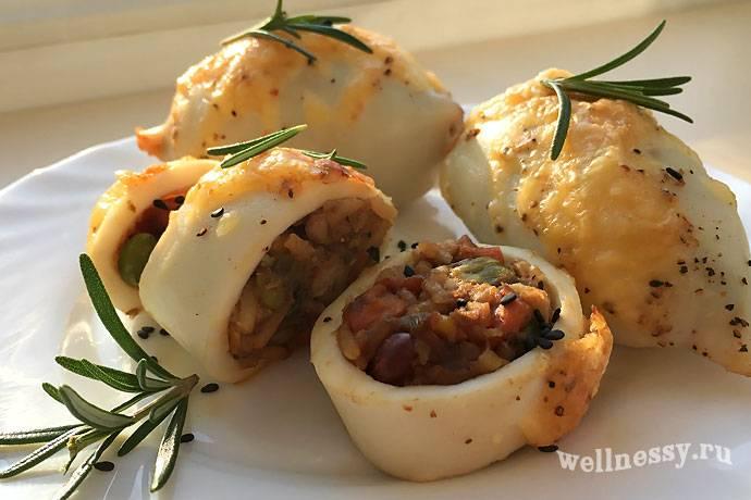 Кальмары фаршированные грибами - рецепты начинки с рисом, сыром, помидорами и креветками