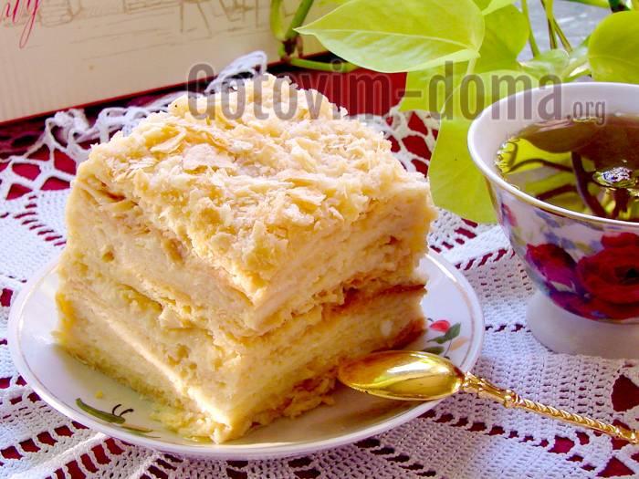 """Слоеный торт """"наполеон"""" с заварным кремом"""