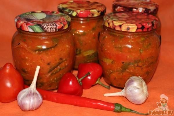 Кабачки в томатном соусе  в заливке