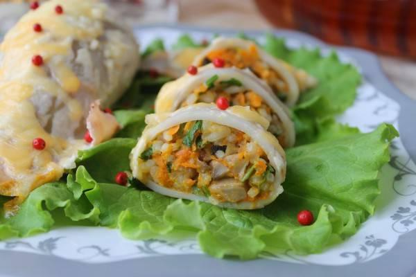 Кальмары, фаршированные грибами и рисом: рецепт с фото