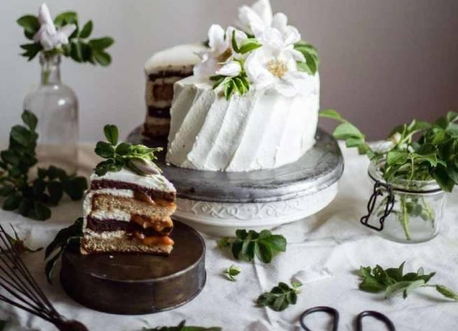 Постный черёмуховый торт-пирог
