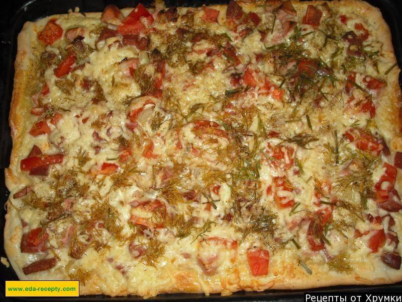 Тонкая пицца с колбасой и грибами. пошаговый рецепт с фото • кушать нет
