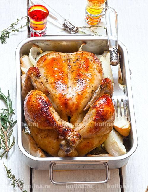 Запечённая курица с маслом и розмарином