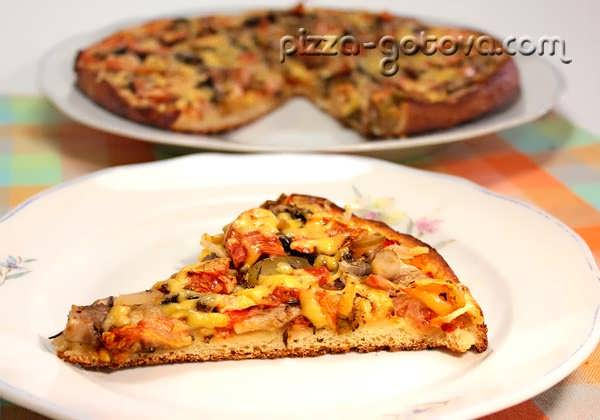Пицца минутка с помидорами на сковороде быстрая и простая