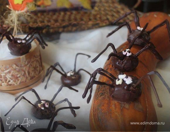 Сладости на хэллоуин: печенье шоколадные пауки