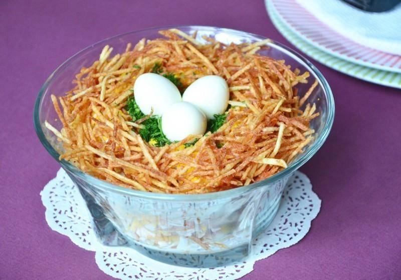 Салат гнездо: лучшие рецепты из куриного филе