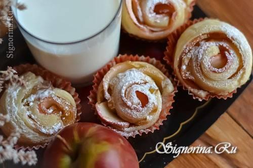 Рецепт розочки из слоеного теста с яблоками