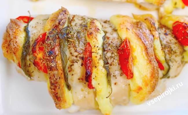 Куриное филе с сыром и помидорами в духовке по-французски - 5 рецептов
